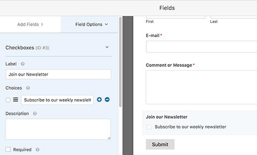 İletişim Formuna E-Posta Aboneliği Eklemek